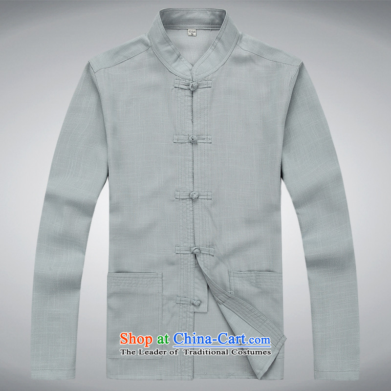 Hei concentric autumn and winter in Tang Dynasty elderly men long-sleeve sweater relaxd light gray燲XL