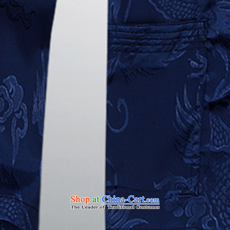 Hei concentric elderly men fall/winter thin cotton long-sleeved Tang dynasty men wearing tang in the elderly elderly men with dark blue聽XXXL, Tang-hi concentric , , , shopping on the Internet