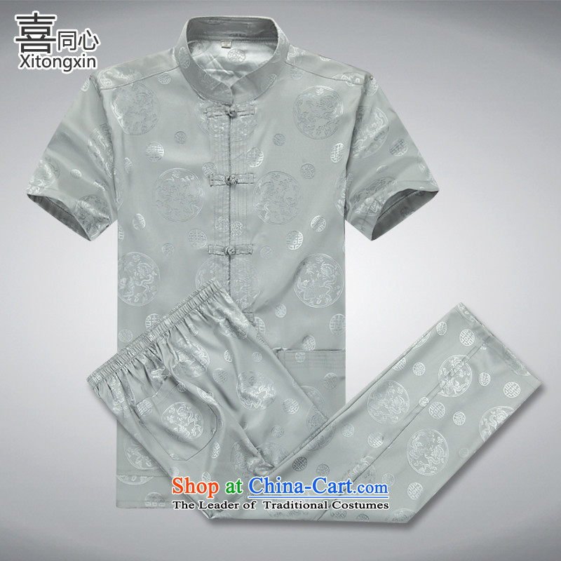 Concentric? 2015 summer-Hi Tang replacing men's short-sleeved cotton linen and stylish lounge Tang dynasty short-sleeve kit A?XXXL