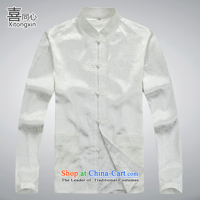 Hei concentric�2015 autumn and winter older men new long-sleeved jacket river Tang�XXXL White