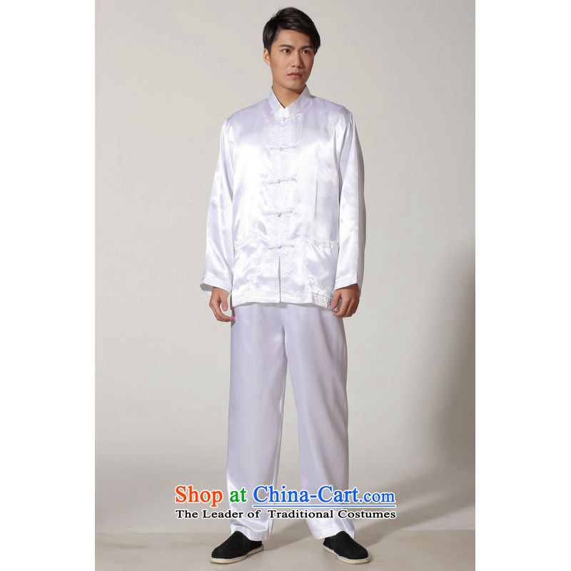 To Jing Ge older men summer Tang dynasty collar silk men long-sleeved kit for larger men's kung fu kit M3013 white L