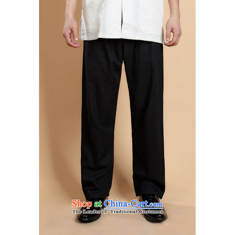 To Jing Ge older men Tang pants summer elastic waist improved Chinese cotton linen solid color wild father Ronald pants replacing 0820-820-001 - 5 black?L