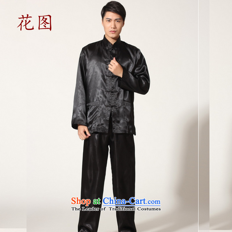 C.o.d. freezing it offer new men with solid color damask Tang Chi-Tang Dynasty Chinese Kung Fu Netherlands kit two male?0 Black?XL