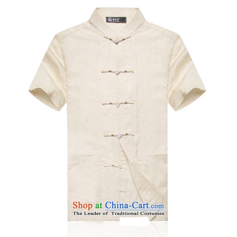 In older men F1709 linen Short-Sleeve Mock-Neck Shirt Tang dynasty China wind summer cotton linen Chinese men L/175 m Yellow