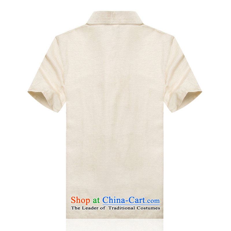In older men F1709 linen Short-Sleeve Mock-Neck Shirt Tang dynasty China wind summer cotton linen Chinese men m Yellow聽L/175, thre line (gesaxing and Tobago) , , , shopping on the Internet
