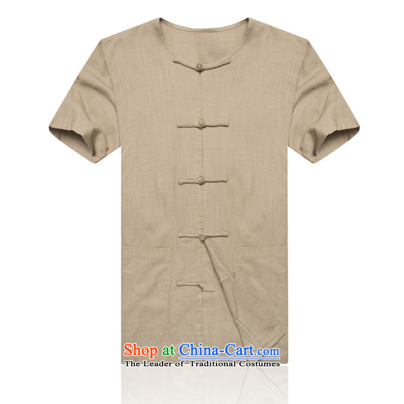 New F1602 of older persons in the summer men short-sleeved no collar cuff-shoulder larger cotton linen flax men's Tang Dynasty Han-the green聽XXL_185