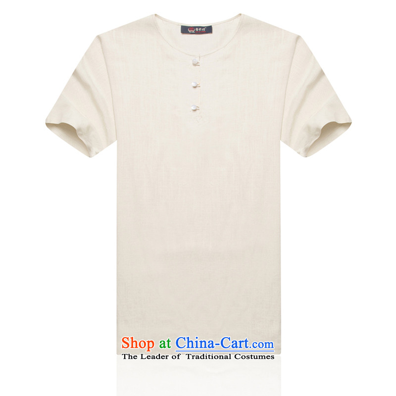 The elderly in the summer men Chinese-shoulder even cuff cotton linen short-sleeved elderly men linen summer Han-men short-sleeve kit and cotton linen white聽XXL_185 Tang Dynasty
