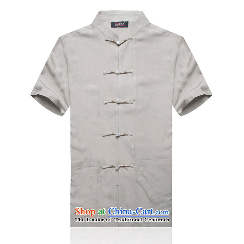 Genuine new summer round dragon cotton linen short-sleeved T-shirt and short-sleeved blouses from older Tang round-hi-Tang dynasty father summer Chinese father Han-loaded聽XL_180 Gray