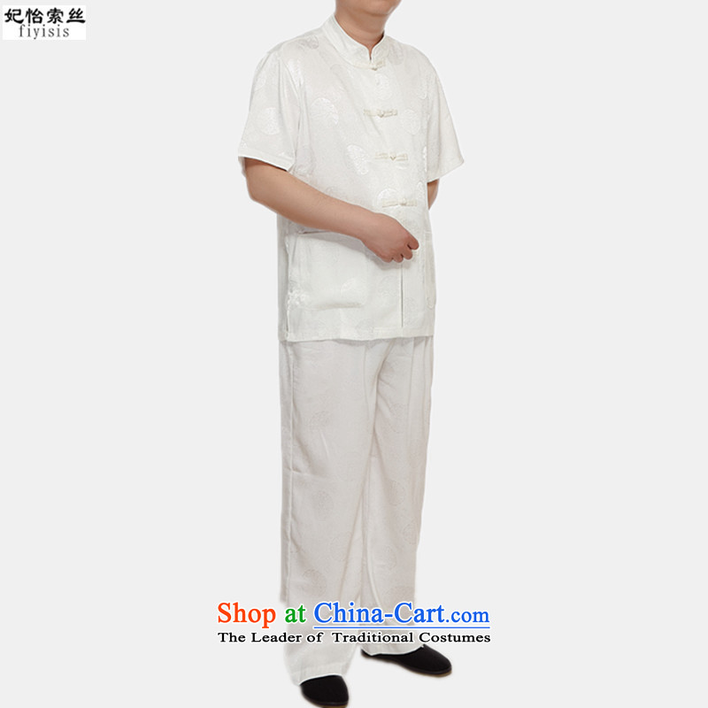 The male population of Princess Selina Chow short-sleeved blouses Tang Dynasty Package men of ethnic costumes disc detained men men Tang Dynasty Package for older Kit Tang dynasty along the River During the Qingming Festival ?XXL/175 m White
