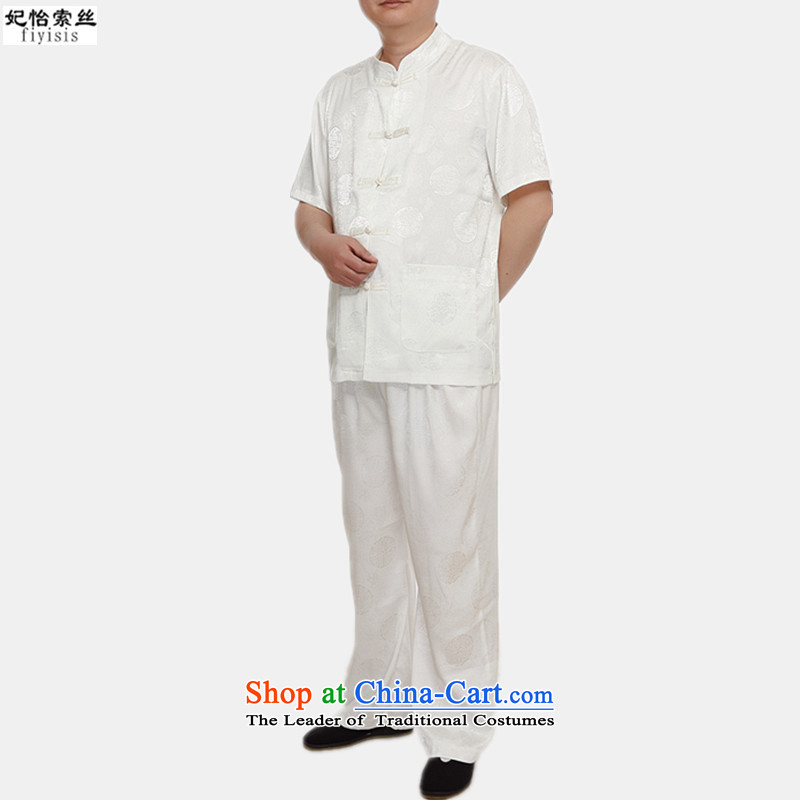 The male population of Princess Selina Chow short-sleeved blouses Tang Dynasty Package men of ethnic costumes disc detained men men Tang Dynasty Package for older Kit Tang dynasty along the River During the Qingming Festival  m White聽XXL/175, Princess Sel
