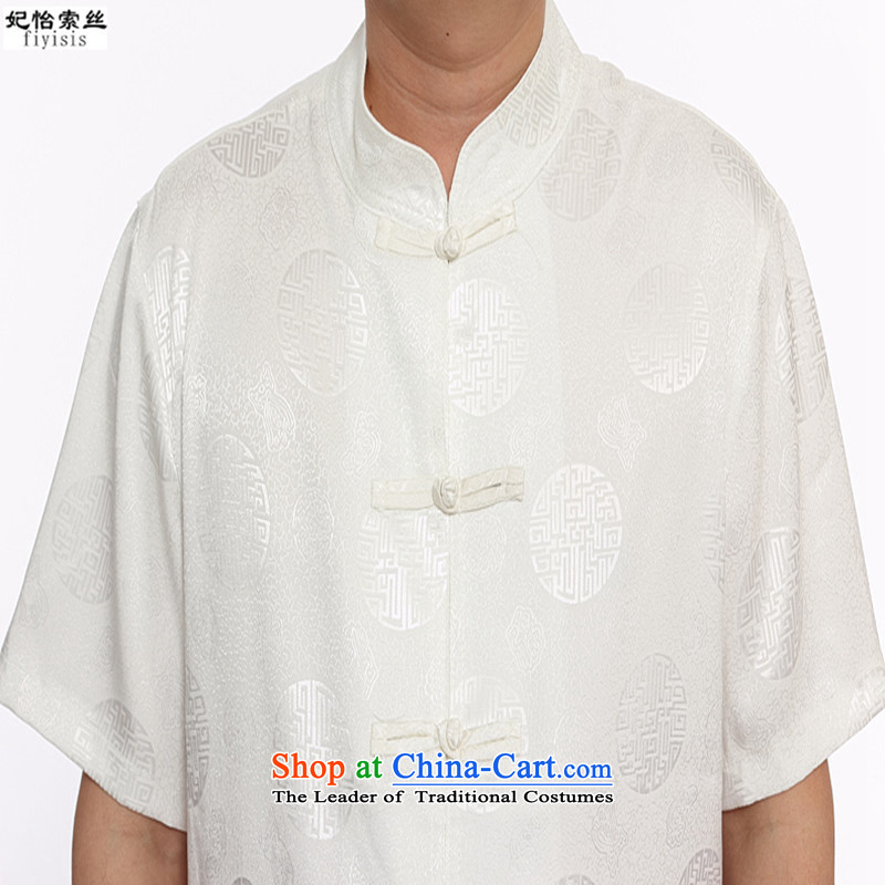 The male population of Princess Selina Chow short-sleeved blouses Tang Dynasty Package men of ethnic costumes disc detained men men Tang Dynasty Package for older Kit Tang dynasty along the River During the Qingming Festival  m White XXL/175, Princess Sel