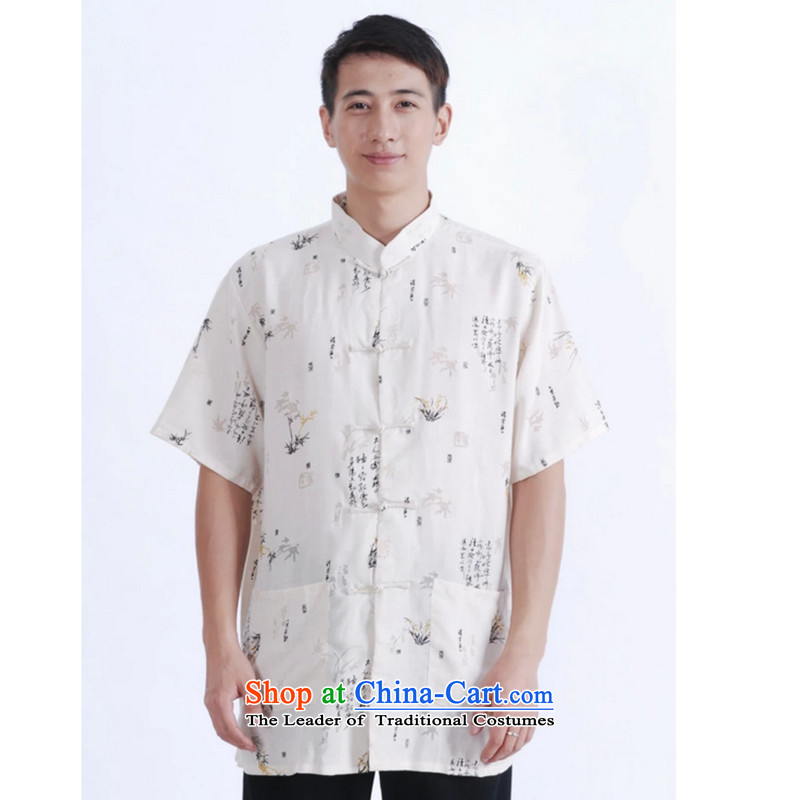 C.o.d. floral Tang dynasty men's cotton linen collar short-sleeved shirt Tang Dynasty Large men ZHUYESHAN?M