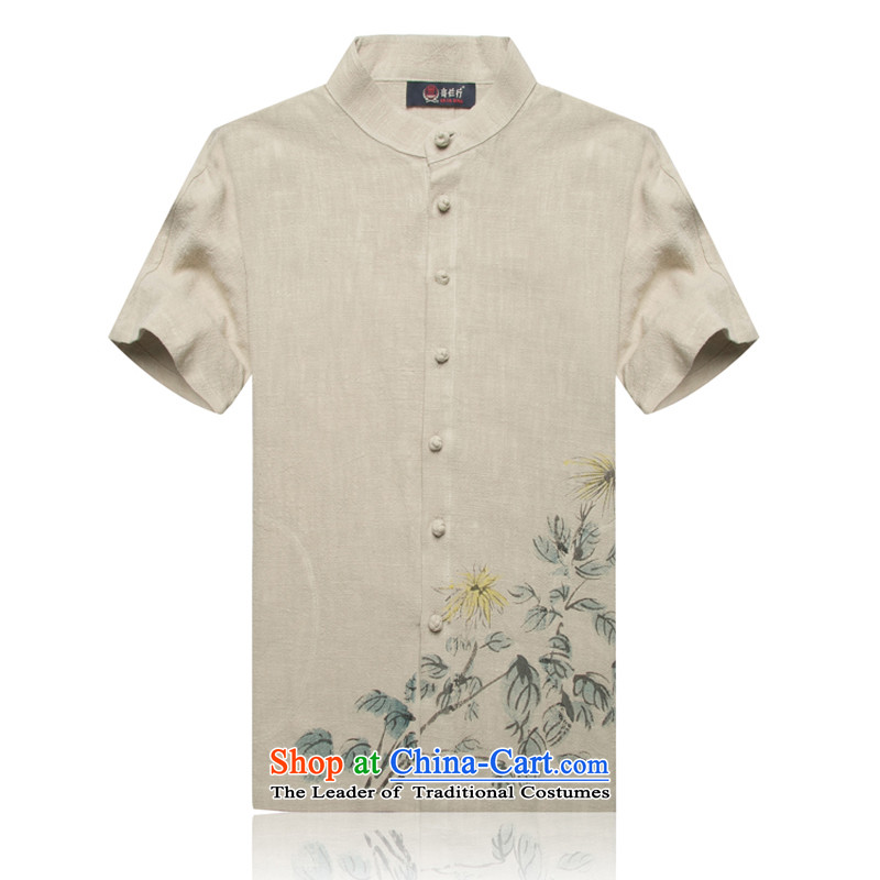 New upscale ramie F1601 short-sleeved Tang dynasty male taxi short-sleeved T-shirt Chinese national assembly mounted on high standards of comfort and Han-khaki?M/170