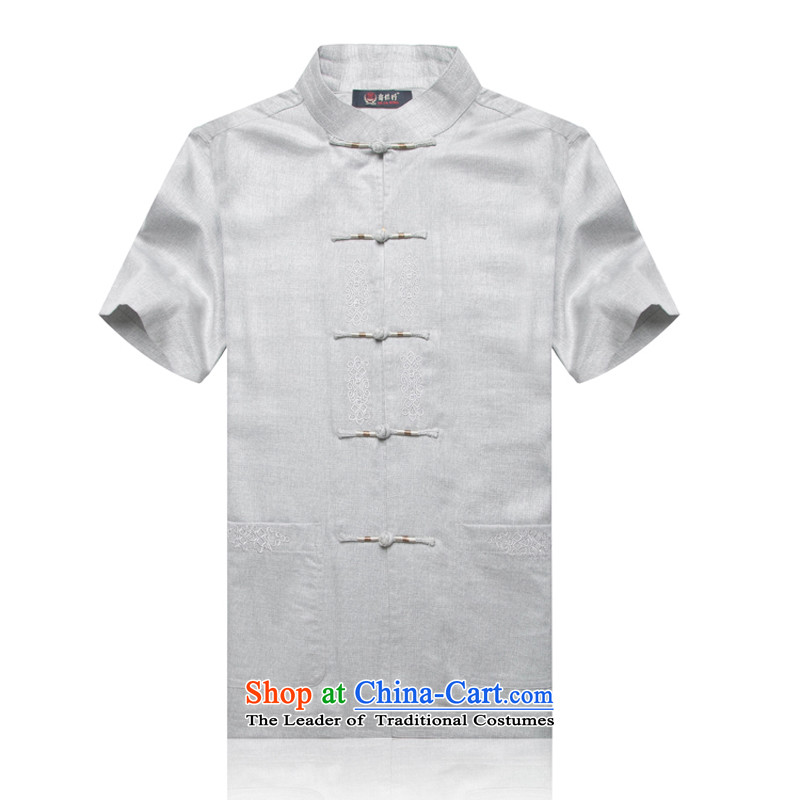 Cd1702 new genuine of older persons in the summer men cotton linen Tang dynasty embroidery Flex-cotton men's Han-Tang dynasty short-sleeved gray XXL_185