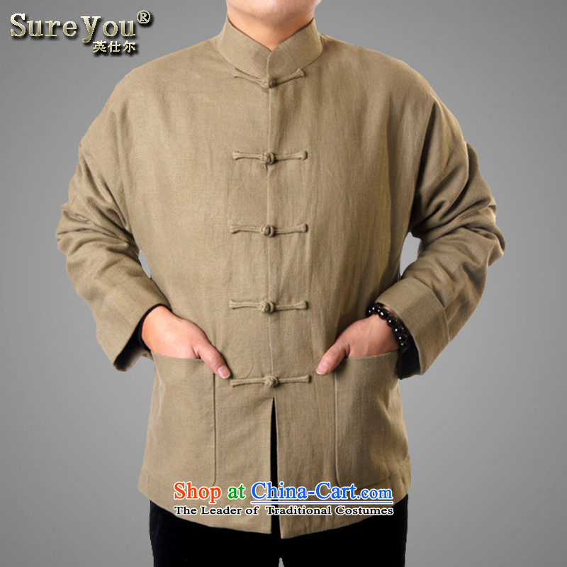 Mr Rafael Hui-ying's New Man Tang Gown of autumn and winter Men's Mock-Neck blessings birthday celebrations leisure two-color in the Chinese Tang older jacket gift 1320_ khaki聽170