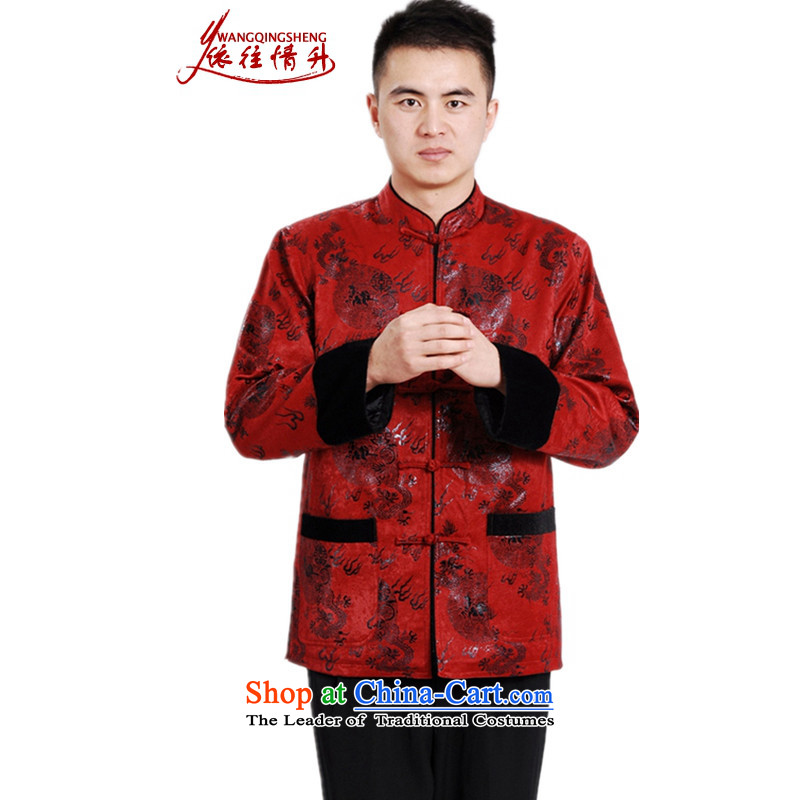 In accordance with the love and replace a trendy new l205 older father boxed Mock-neck stamp Tang dynasty ���� jacket�LGD/M0038#�RED�M