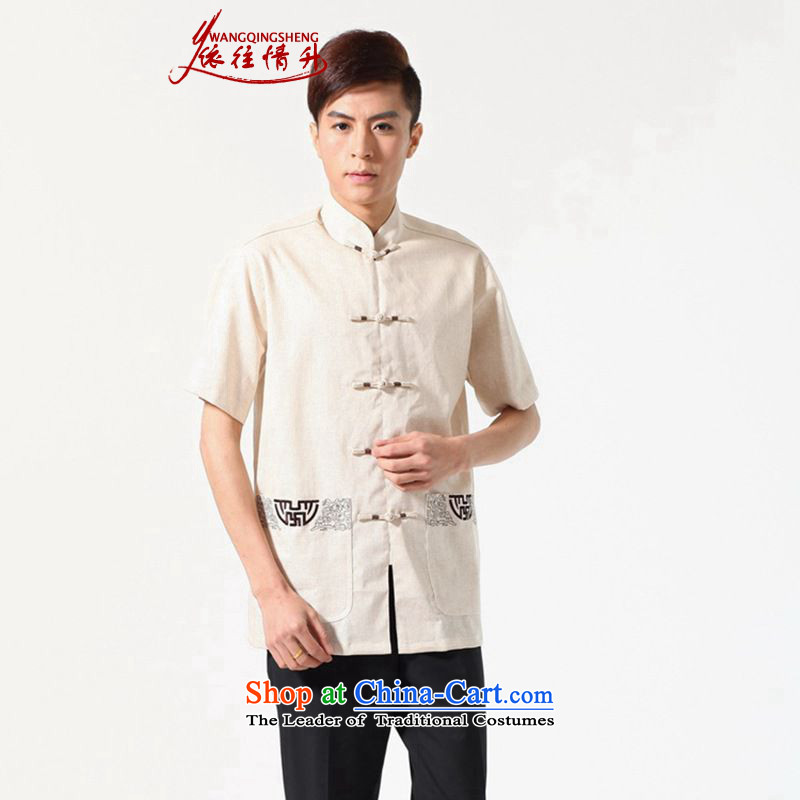 In accordance with the Love l 2015 Summer trendy new products. The elderly father loaded collar stamp short-sleeved shirt Lgd/m0051# Tang dynasty beige XL