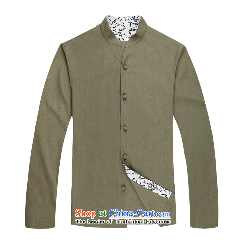 The elderly in the original cotton linen and Tang dynasty China wind long sleeved shirt and Tang dynasty cotton linen spring and autumn long men Tang blouses ethnic men cotton linen collar Tang dynasty�L/175 Army Green