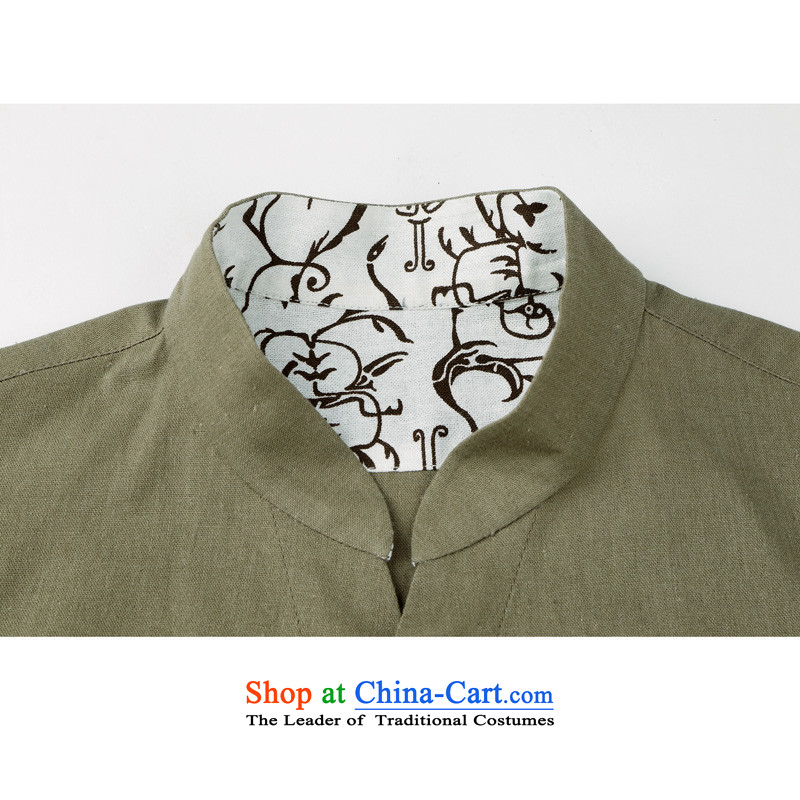 The elderly in the original cotton linen and Tang dynasty China wind long sleeved shirt and Tang dynasty cotton linen spring and autumn long men Tang blouses ethnic men cotton linen collar Tang Dynasty Army Green聽L/175, thre line (gesaxing and Tobago) , ,