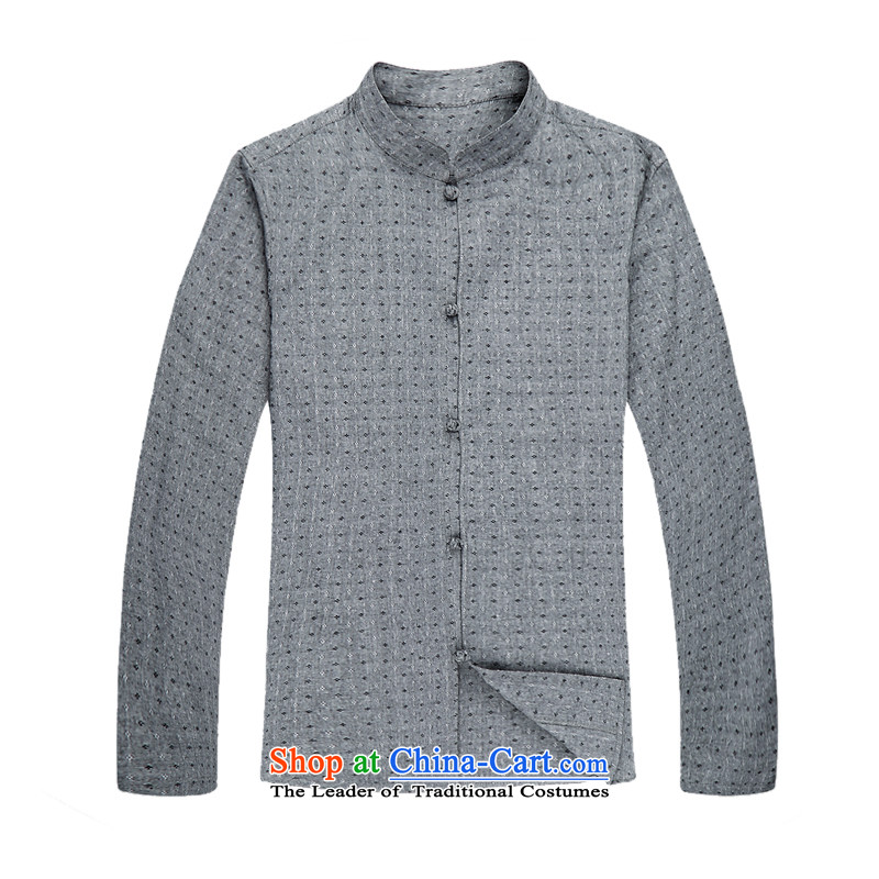 During the spring and autumn long-sleeved light rain point men cotton linen Tang dynasty China wind stylish cotton linen and Tang dynasty long-sleeved Spring and Autumn Chinese boxed Mock-neck Han-leisure men Tang dynasty L_175 gray long-sleeved shirt