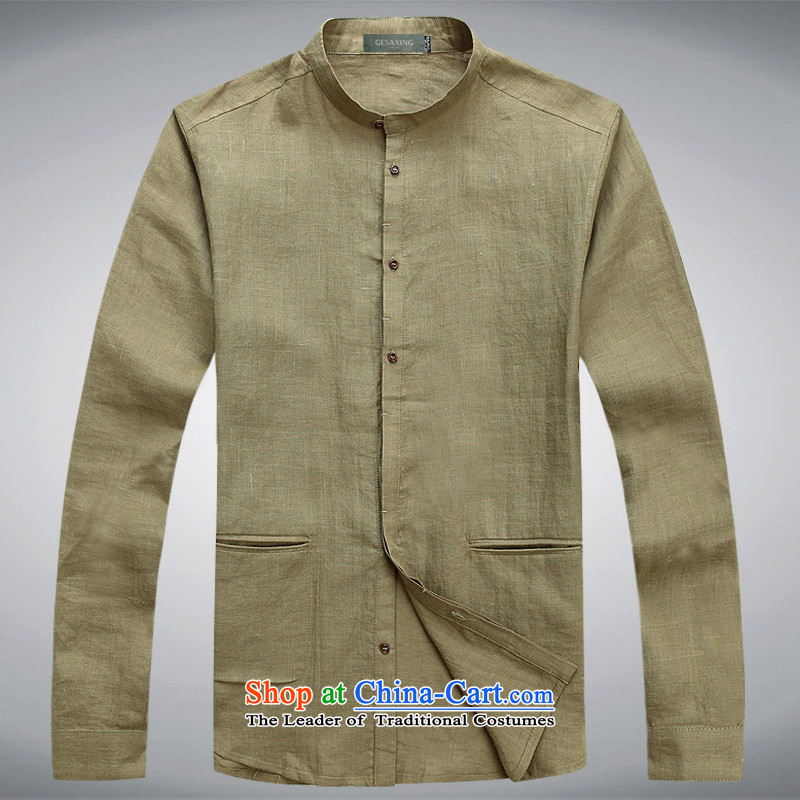 �Long-sleeved Tang Dynasty in spring and autumn T6008 new products in Spring and Autumn Chinese boxed ramie linen trend men shirt men long-sleeved shirt green�L/175 China Wind