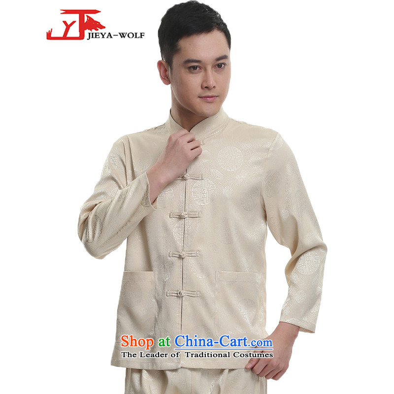 - Wolf JIEYA-WOLF, New Tang dynasty Long-sleeve Kit Stylish spring and fall Millennium Star_ Men Kit tai chi loading聽185_XXL yellow