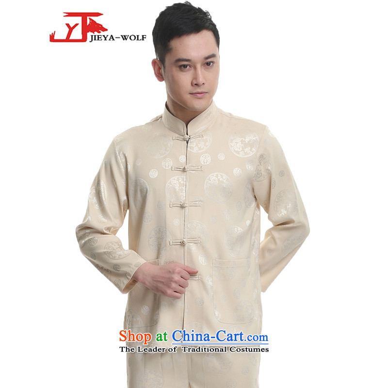- Wolf JIEYA-WOLF, New Tang dynasty Long-sleeve Kit Stylish spring and fall round male_ star Jackie Chan Kit-chi, sports wear beige?170_M