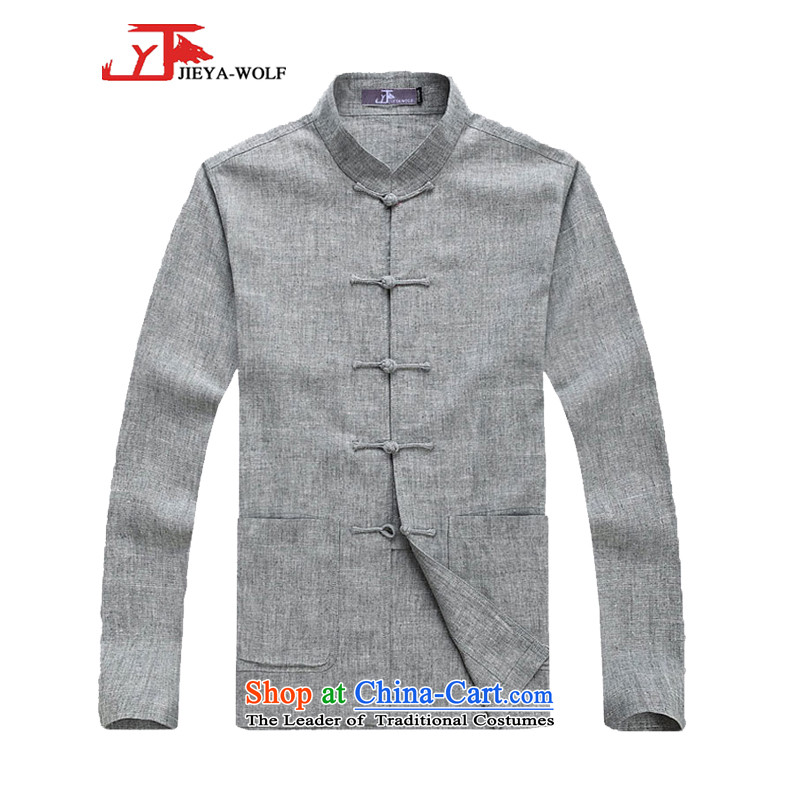 - Wolf JIEYA-WOLF2015, New Package Tang dynasty men's spring and autumn long-sleeved cotton linen manually Tang dynasty detained Tray Kit, light gray set of stars 180_XL