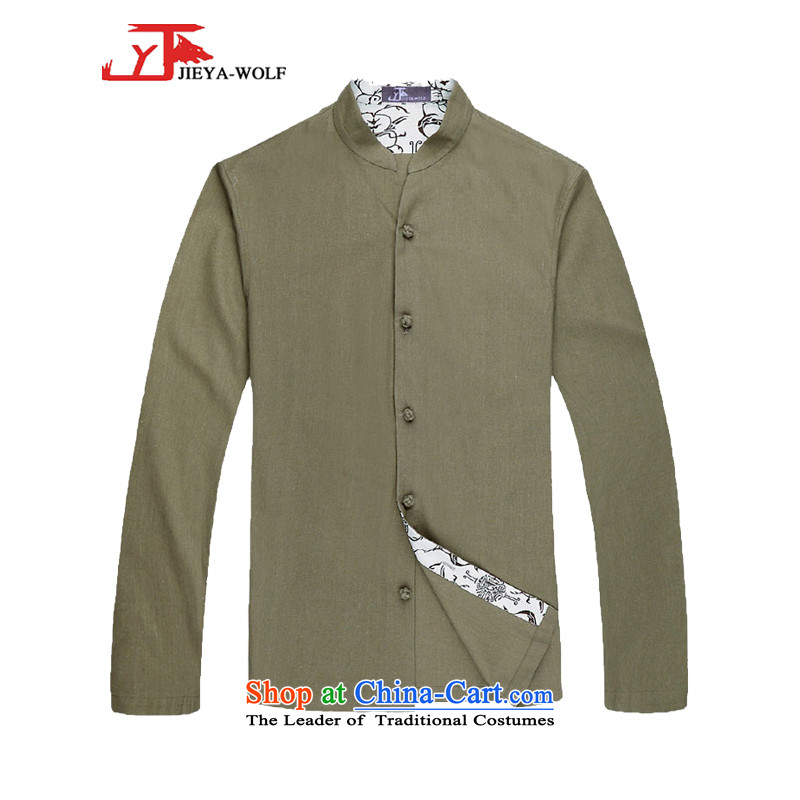 - Wolf JIEYA-WOLF2015, Tang dynasty men's spring and autumn long sleeved shirt men Tang dynasty fashion solid color shirt green stars in spring and autumn聽170_M