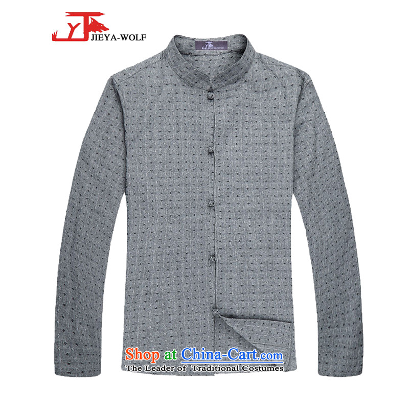 - Wolf JIEYA-WOLF, Tang dynasty men's spring and autumn long sleeved shirt men Tang Dynasty Stylish spring pure cotton stars of gray聽180_XL