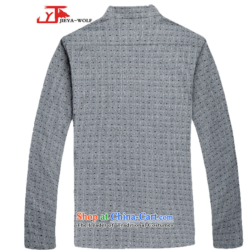- Wolf JIEYA-WOLF, Tang dynasty men's spring and autumn long sleeved shirt men Tang Dynasty Stylish spring pure cotton stars of gray聽180/XL,JIEYA-WOLF,,, shopping on the Internet