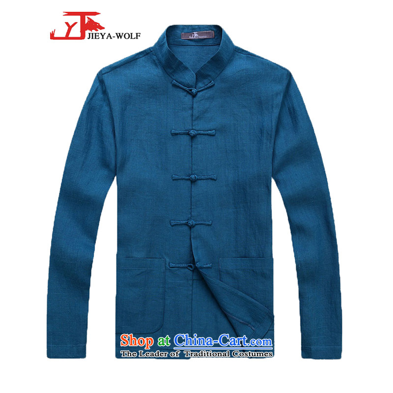 - Wolf JIEYA-WOLF, New Package Tang dynasty Long-sleeve spring and autumn_ Men Tang dynasty during the spring and autumn stylish pure linen handicraft disk set of Peacock Blue聽185_XXL Deduction