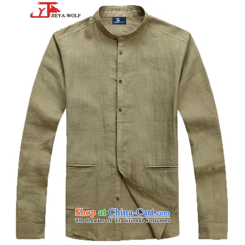 - Wolf JIEYA-WOLF15, Tang dynasty, men's spring and autumn long sleeved shirt men Tang dynasty fashion pure colors pure green shirt 180_XL 1
