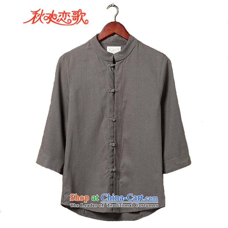 Chaplain Sonata 2015 Summer New Men Tang dynasty China wind shirts, T-shirts, linen kung fu short-sleeved shirt and breathable summer rock Gray�L size is too small.)