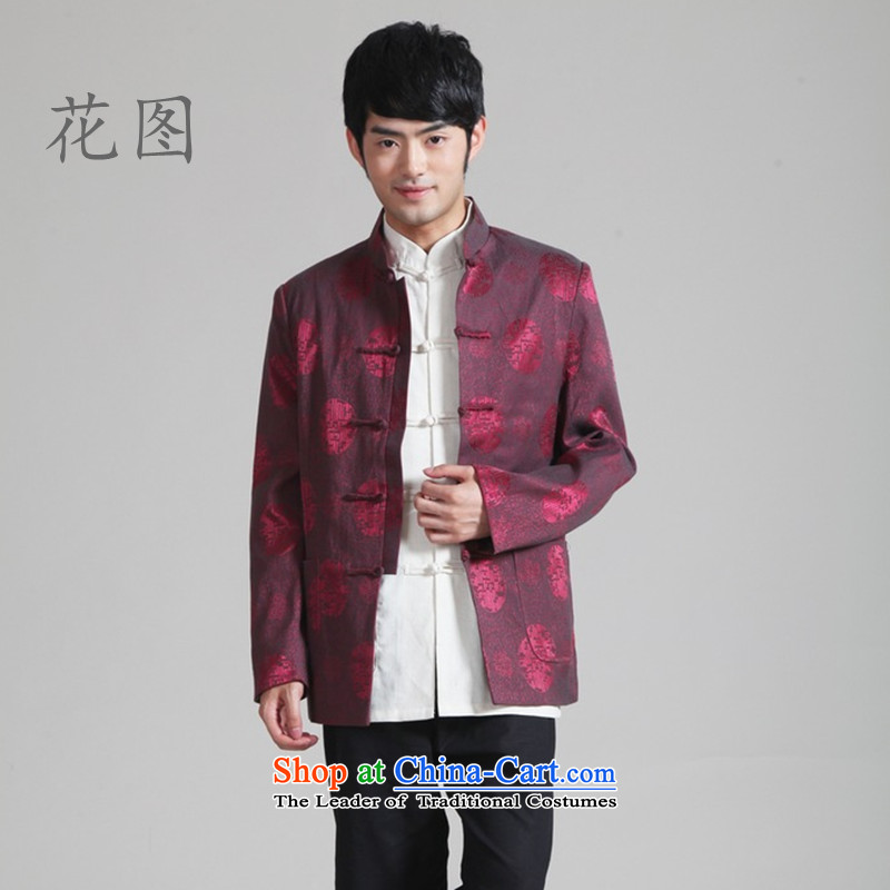 It New Fall/Winter Collections of men Tang dynasty mock national workwear casual clothing long-sleeved jacket cardigan?- 2 BOURDEAUX?XXL