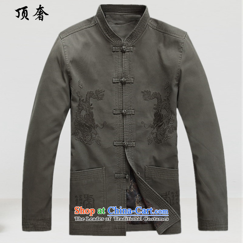 Top Luxury?spring and autumn 2015 new) older men long-sleeved jacket father of middle-aged people in spring and autumn Tang dynasty jacket coat sand washing?S/165 pale green cotton