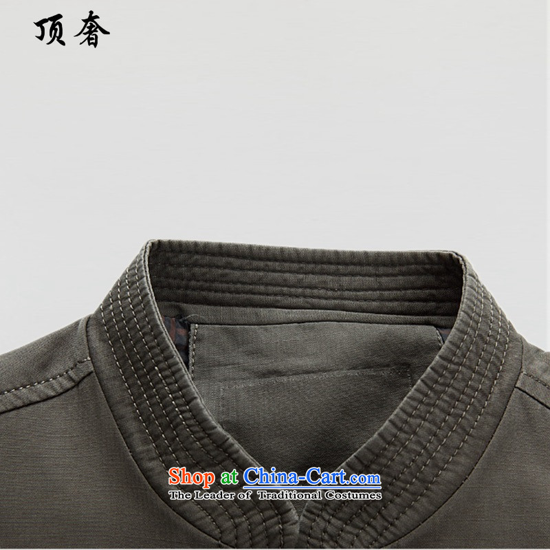 Top Luxury聽spring and autumn 2015 new) older men long-sleeved jacket father of middle-aged people in spring and autumn Tang dynasty jacket coat sand washing cotton聽S/165, pale green top luxury shopping on the Internet has been pressed.