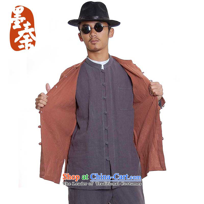 The qin designer original residual and_washable long-sleeved men Tray Tie China wind Mock-Neck Shirt cotton linen retro 61 Gray