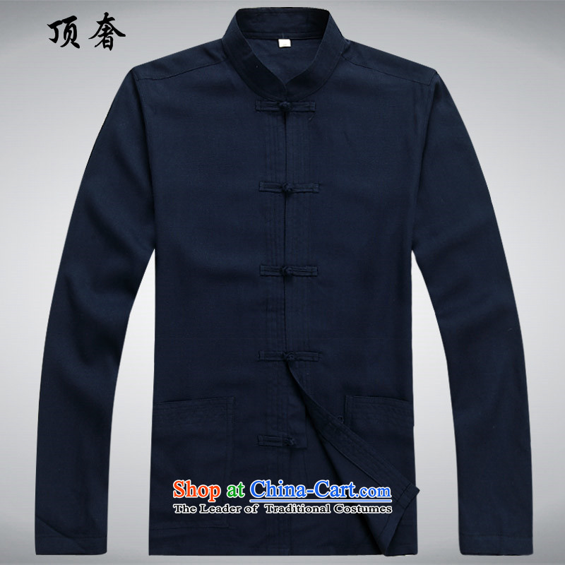 Top Luxury of ethnic men Tang long-sleeved blouses boxed loose thin, men detained national load tray blue long-sleeved sweater, dark blue?L_170 2043