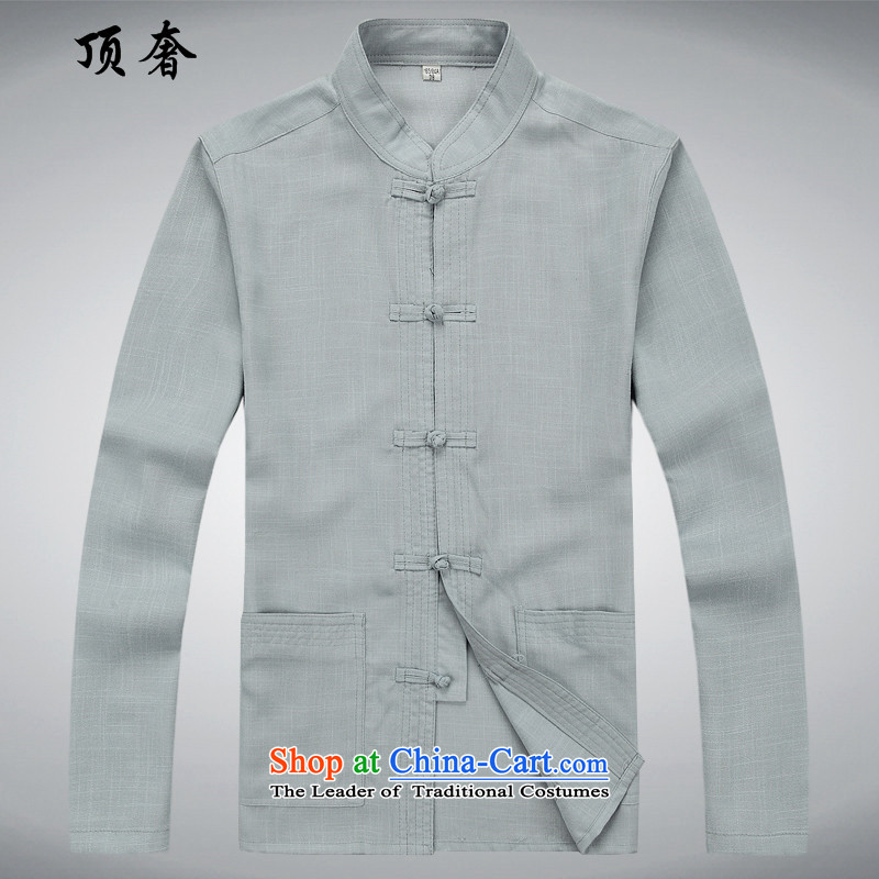 Top Luxury Tang Dynasty Package long-sleeved聽2015. Older Kit linen Tang dynasty men Tang Dynasty Package for older kit kit and a long-sleeved gray suit聽XXL/185, top luxury shopping on the Internet has been pressed.