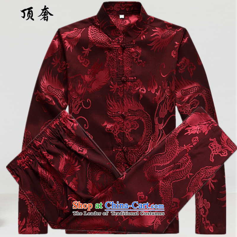 Top Luxury men Tang Dynasty Package long-sleeved shirt, long-sleeved thin 2015 kit Tang Dynasty Chinese ROM version relaxd wind red Tang dynasty 2039, Male Red M_170 Kit