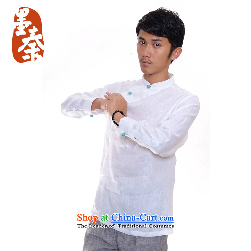 The qin designer original improvement of the Republic of Korea is traversed by the disc wind cheongsams detained men linen Tang dynasty white long-sleeved XXL/ jumbo