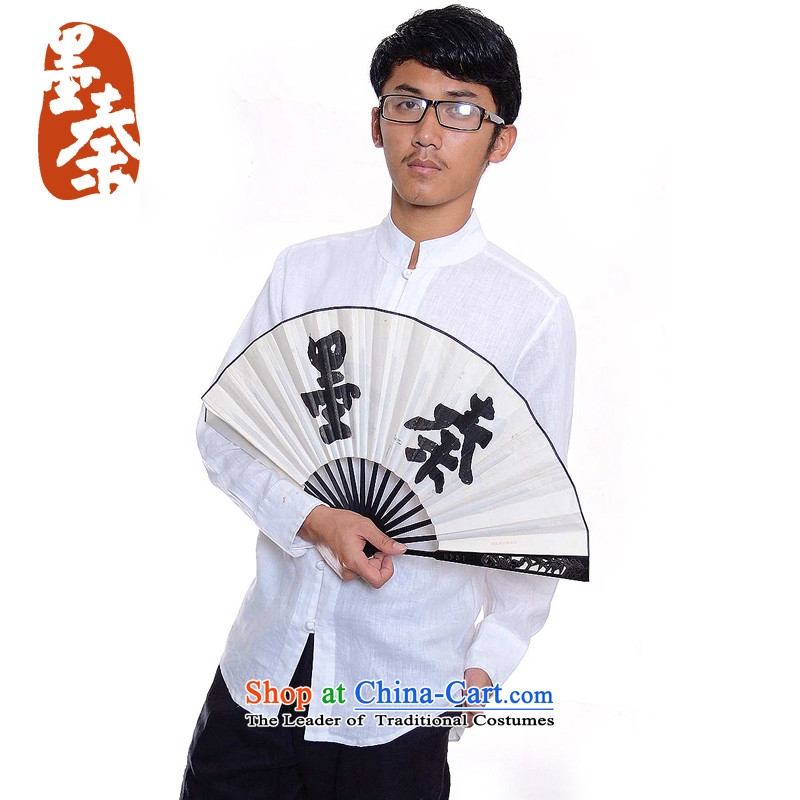 The Qin dynasty designer original large_Men China wind up charge-back collar linen casual shirt, white S_508 fine