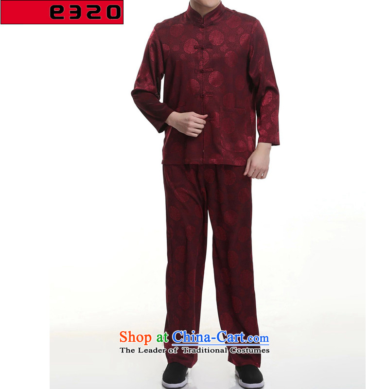 In 2015, the elderly men E320 taxi short-sleeved Tang Dynasty Package long-sleeved Dragon Chinese Tang dynasty package install Dad's deep red�180