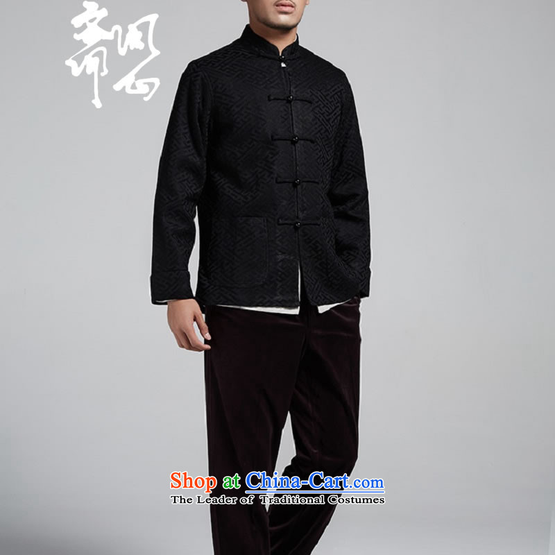 Q Shinsaibashi represented a health (men's new Chinese Disc winter detained collar jacket silk shirt WXZ1561 Jacquard Black聽XL 170/92, q heart of Ramadan , , , shopping on the Internet