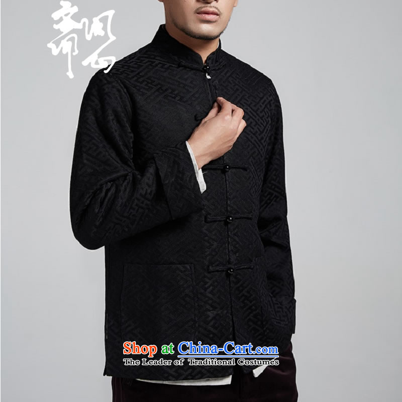 Q Shinsaibashi represented a health (men's new Chinese Disc winter detained collar jacket silk shirt WXZ1561 Jacquard Black XL 170/92, q heart of Ramadan , , , shopping on the Internet