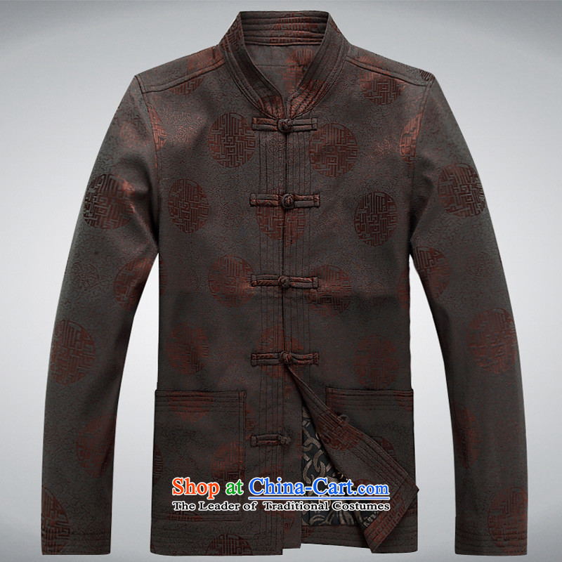 In the men's older Chinese national costume spring and fall long-sleeved cotton Tang Dynasty Men long-sleeved brown Tang dynasty?XXL