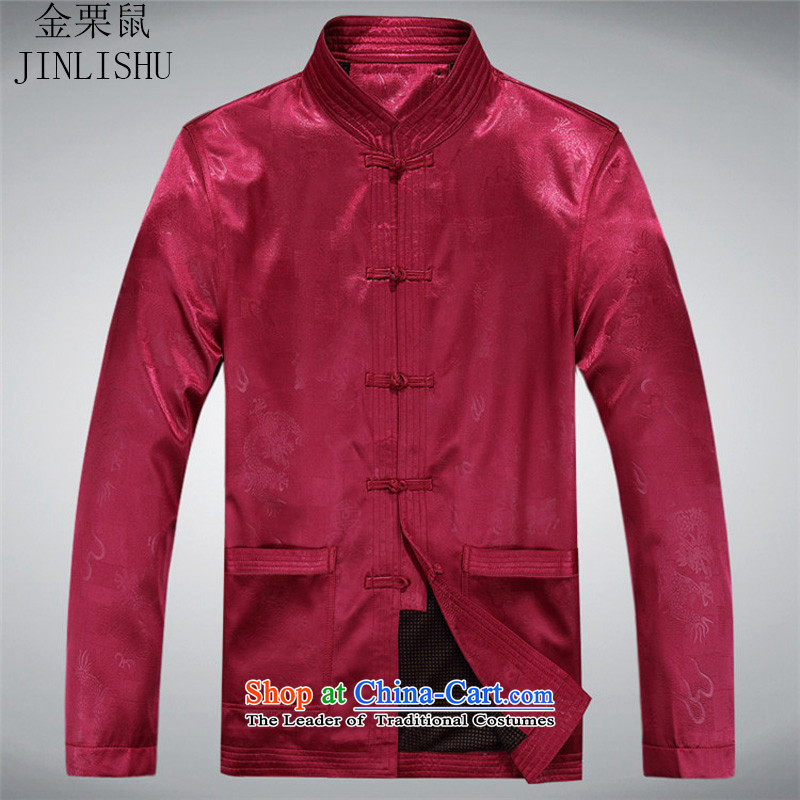 Kanaguri mouse in older men Tang long-sleeved shirt with men's jackets Chinese disc loading large code clip fall short jackets and red聽185