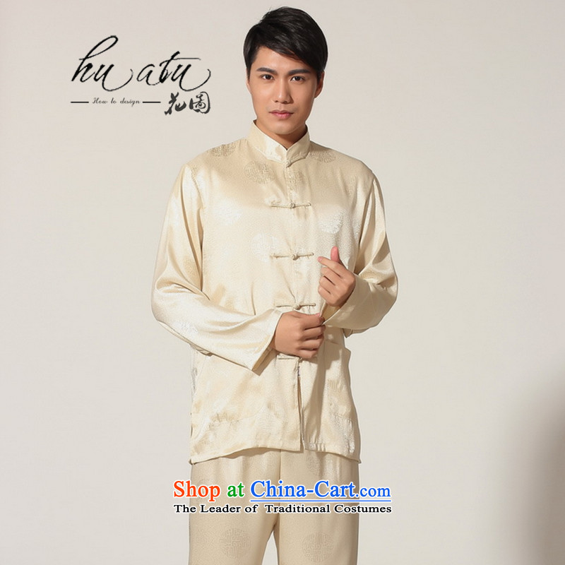 The 2014 autumn and winter flower figure new Chinese men Tang Gown damask long-sleeved Cardigan Tai Chi Kung Fu Man Kit Services?-D GOLD?XXL