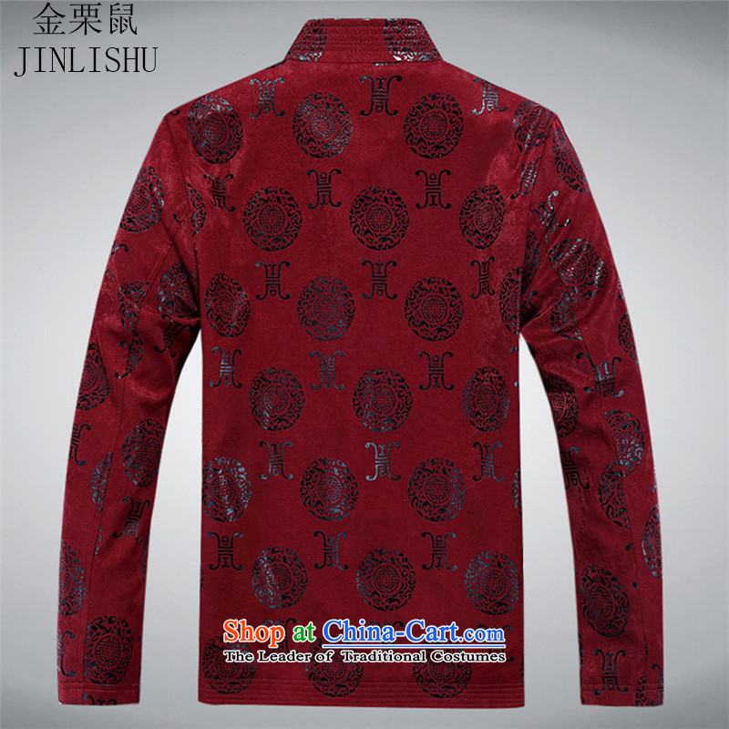 Kanaguri mouse during the spring and autumn of the elderly in the men's large leisure Chinese collar Tang Jacket coat with men's shirts father red聽190, kanaguri mouse (JINLISHU) , , , shopping on the Internet